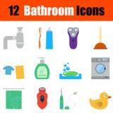 Flat design bathroom icon set Royalty Free Stock Images