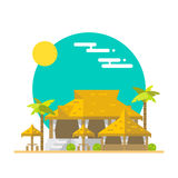 Flat design of beach bar and restaurant Royalty Free Stock Photography