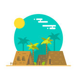 Flat design of beach bungalows Royalty Free Stock Photo