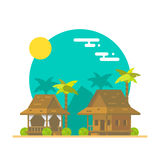 Flat design of beach bungalows Stock Image