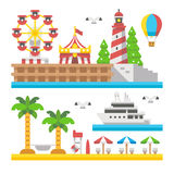 Flat design beach carnival park Stock Photos
