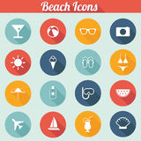 Flat Design Beach Icons Set - vector eps10. Flat Design Beach Icons - Sun, Beach, Vacation, Ocean Royalty Free Stock Photo