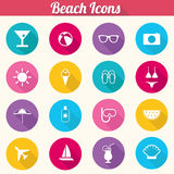 Flat Design Beach Icons Set - vector eps10. Flat Design Beach Icons - Sun, Beach, Vacation, Ocean Royalty Free Stock Images