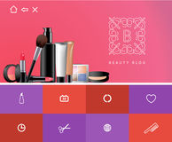 Flat design of beauty blog site Stock Photography