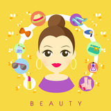 Flat design for beauty and shopping concepts Royalty Free Stock Image