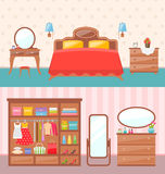 Flat design bedroom interior. Vector illustration. Modern furniture, bunk bed, carpet, table lamp. Baby room with toys. Stock Photography