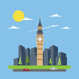 Flat design of Big Ben Stock Image
