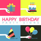 Flat design for birthday party signs concept Stock Photos