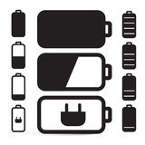 Flat Design Black Battery Life Vector Icons Set Stock Image
