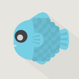 Flat Design Blue Fish Icon Stock Photography
