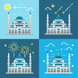 Flat design of Blue mosque Istanbul Turkey Stock Photography