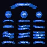 Flat design blue ribbons vector set. Flat design blue ribbons, badges and labels vector set Stock Photos