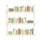 Flat Design Books On Rope Shelf Royalty Free Stock Photo