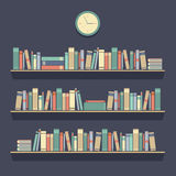 Flat Design Bookshelves. Vector Illustration royalty free illustration