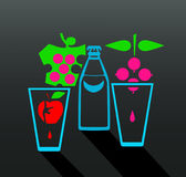 Flat  design bottle and glasses with fruit isolated. Stock Photos