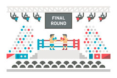 Flat design boxing stage fight Royalty Free Stock Images