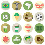 Flat Design Brazil Icons Set Stock Images