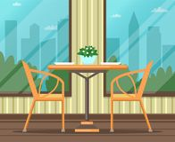 Interior of empty restaurant, cafe. Flat design. Bright vector illustration vector illustration