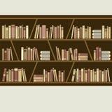 Flat Design Brown Bookshelf Royalty Free Stock Photo
