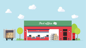 Flat design of building exterior post office. Flat design of post office service: office workers,   interior, actions and activities Royalty Free Stock Photos