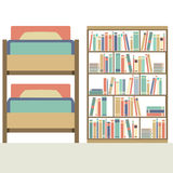 Flat Design  Bunk Bed With Big Bookcase Stock Photography