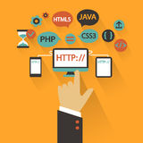 Flat design. Business concept with hand. Web development infographic. Stock Images
