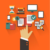 Flat design. Business concept with hand. Writing infographic Stock Photo