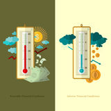 Flat design business illustration favorable and adverse financial conditions for example weather. Flat business illustration favorable and adverse financial Royalty Free Stock Image