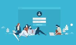 Login. Flat design business people concept for login form, internet security, user account, register page. Vector illustration concept for web banner, business Stock Photos