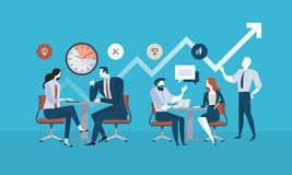 Flat design business people concept for project management, business meeting, working process Stock Photo