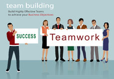 Flat design of business people group holding posters. Teamwork Stock Photos