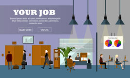 Flat design of business people or office workers. Office interior banner. Stock Photography