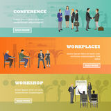 Flat design of business people or office workers. Presentation and meeting. interior banner. Royalty Free Stock Photography
