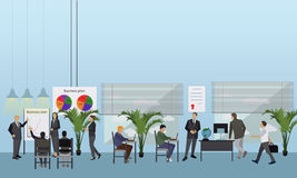 Flat design of business people or workers. Office interior. Presentations and meetings Stock Image