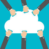 Flat design, Businessman hand picked clouds, Cloud Computing idea concept. Vector illustration. EPS 10 Stock Images