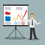 Flat design businessman pointing at presentation Stock Photography