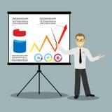 Flat design businessman pointing at presentation Stock Photography