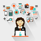 Flat design. Businesswoman Royalty Free Stock Image