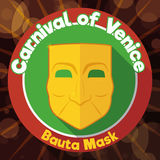 Flat Design with Button and Bauta Mask for Venice`s Carnival, Vector Illustration Royalty Free Stock Photo