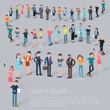 Flat Design C People Waiting In Line Royalty Free Stock Photos