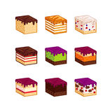 Flat design cake flavour slices. Flat design cake piese icons. Cartoon cake flavour vector illustration. Cake slice  set. Birthday cake order infogaphics Royalty Free Stock Images