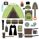 Flat design camping equipment collection. EPS 10 vector Royalty free stock illustration for ad, promotion, poster, flier, blog, article, social media Stock Image