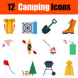 Flat design camping icon set Stock Photos