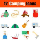 Flat design camping icon set Stock Photography