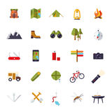 Flat Design Camping and Outdoor Pursuits Icon Set Royalty Free Stock Images