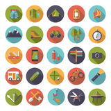 Flat Design Camping and Outdoor Pursuits Icon Set Stock Image