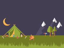 Flat Design Camping Vector Illustration Royalty Free Stock Photography