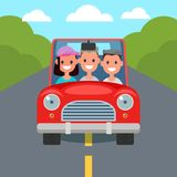 Flat Design Car Driving Characters. Car sharing. Vector. Illustration royalty free illustration