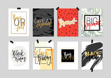 Flat design cards sale discount banners for websites. Beautiful colorful design in gold with hand calligraphy. Inscription Black Friday. Buy now. Big discount Royalty Free Stock Photo