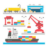 Flat design cargo port equipment. Illustration Stock Photography